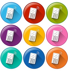 Circle buttons with cellphones vector image