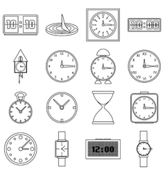 Clocks icons set outline style vector image
