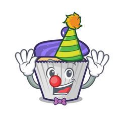 clown blueberry cupcake mascot cartoon vector image