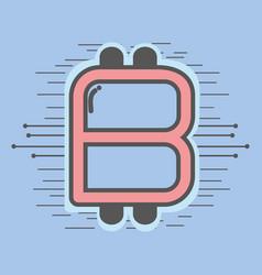 Color symbol icon circuit bitcoin money currency vector