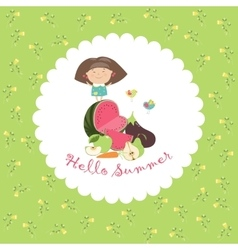 Cute girl with fruits and vegetables Hello summer vector image