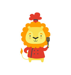 Cute lion in red chef uniform holding spatula vector