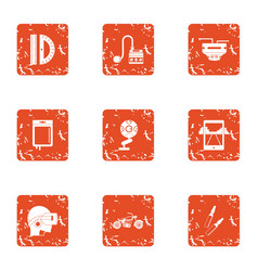 Cyber practice icons set grunge style vector