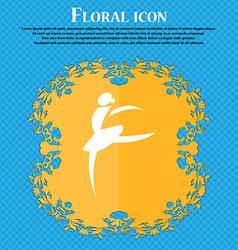 Dance girl ballet ballerina icon Floral flat vector