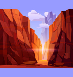desert road in canyon with red mountains vector image