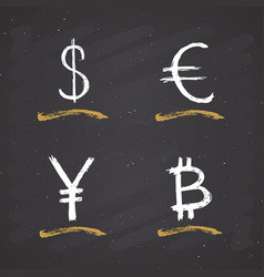Dollar euro yen and bitcoin sign icon brush vector