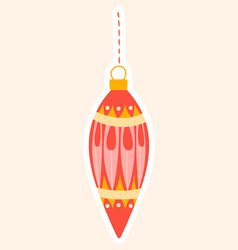 elegant red christmas bauble for an xmas tree vector image