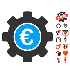 euro development gear icon with valentine bonus vector image