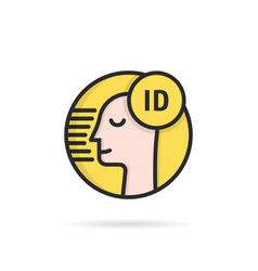 Face id simple linear icon vector