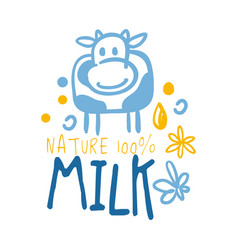 Farm nature milk logo symbol colorful hand drawn vector