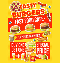 Fast food burger snacks and pizza vector