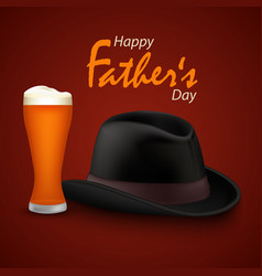 fathers day poster with beer and black hat vector image