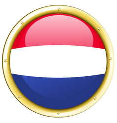 flag of netherland in round badge vector image