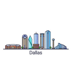 Flat line dallas banner vector