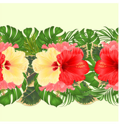 floral border seamless background with tropical vector image