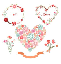Floral frames and heart with flowers vector image