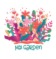 Flower bed meadow vector