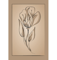 flower on a beige background Imitation ink vector image