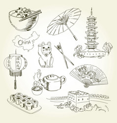 Freehand drawing china items vector
