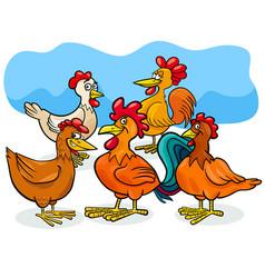 funny chickens cartoon farm animals group vector image