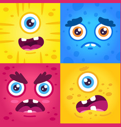 funny monster expressions halloween cute vector image