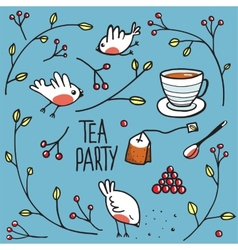 Garden Tea Party with Birds Twigs and Berries vector image