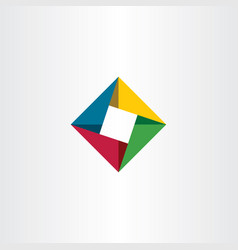 Geometric square business logo with triangles vector