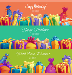 Gift banners for happy birthday holidays vector