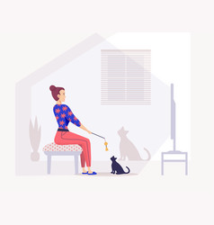 Girl watching television sitting in armchair vector