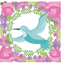 green bird flying wreath flowers decoration vector image