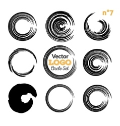 Grunge circle brush strokes set Hand made vector image