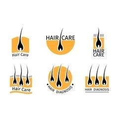 Hair follicle diagnostics logos set vector