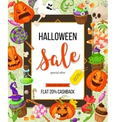 Halloween sale offer design template vector