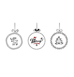 hand drawn christmas ball collection isolated on vector image