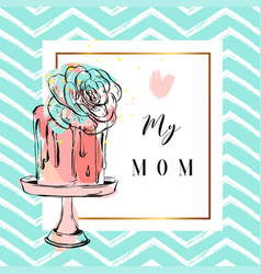 hand drawn greeting card with cake and vector image