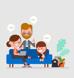 happy family watching news and having vector image