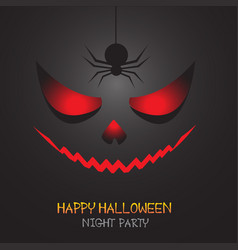 Happy halloween red evil face and spider shadow vector