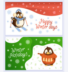 happy winter days animal characters greeting card vector image