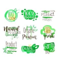 Healthy Bio Food Promo Signs Colorful Set vector image