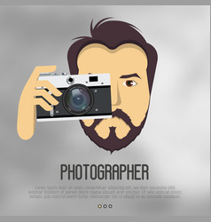 Hipster bearded man with camera take a photo vector
