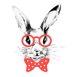 Hipster rabbit hand drawn watercolor sketch vector