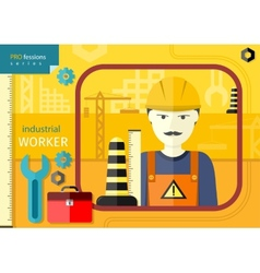 Industrial worker in workwear and helmet vector