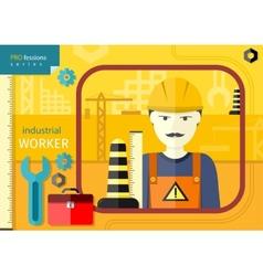 Industrial worker in workwear and helmet vector image