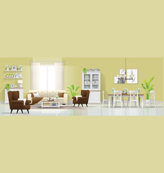 Interior background with living and dining room vector