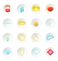 Jewelry items icons set vector