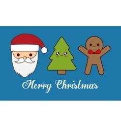 Kawaii santa pine tree and coockie of Christmas vector