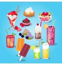 Large Set of Sweets Food Design Flat vector
