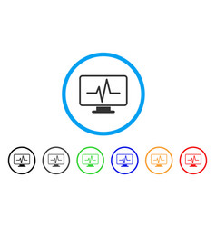 Line chart monitoring rounded icon vector