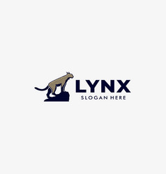 Logo lynx pose mascot cartoon style vector