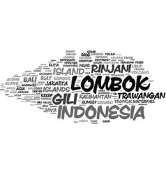 Lombok word cloud concept vector